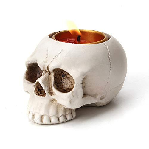 Creative driedimensionale schedelhoofd kandelaar decoratie Halloween sfeer decoratie hars spook hoofd decoratie Kandelaars