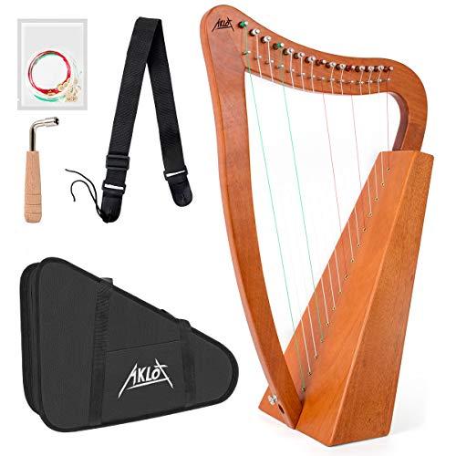 AKLOT Harp 15 Saiten Mahagoni Harfe 55,9 cm Höhe für Erwachsene Kinder Anfänger mit Stimmschlüssel schwarz Gigbag Gurt Ersatzsaiten