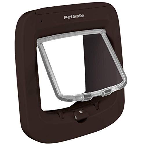 PetSafe puerta electrónica para gatos con microchip, entrada selectiva, fácil de instalar, bloqueo manual de 4 vías, eficiencia energética, a prueba de viento, práctico, marrón (nueva versión)