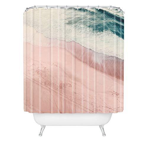 "Society6 Ingrid Beddoes Beach Calm Shower Curtain, 72"" x 69"" x 0.1"", Pink"