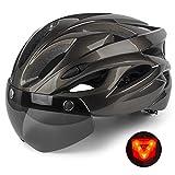 Shinmax Casco Bici con Luce di LED,Certificato CE, Casco con Visiera Magnetica Staccabile Shield Casco da...