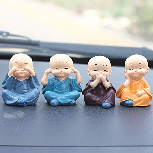 YJXJJD Car Ornaments 4 / Set Decoration Resin Bobblehead Image of Tommy Monks Maitreya Buddha Pendant Gift Box Car Accessories (Color Name : 4Pcs Little Monk)