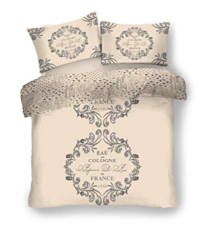 Gaveno Cavailia Script Paris Luxurious Vintage Style Duvet Covers Quilt Covers Reversible Bedding Sets with Pillowcases (Cream, King)