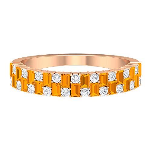 Anillo de zafiro naranja creado en laboratorio con forma de baguette de 2,20 x 1,5 mm, anillo de diamante HI-SI, anillo de boda de oro (calidad AAAA), 14K Oro rosa, Size:EU 52