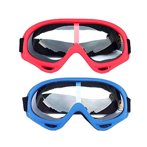 2 Pack Safety Goggles for Kids, Men & Women, Motorcycle Goggles with UV400 Protection and Wind Resistance, Perfect for Nerf Guns N-Strike Elite Series Foam Gun