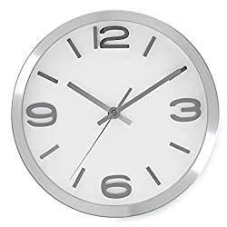 Bernhard Products Modern Wall Clock 10 Inch Silver Silent Non Ticking Battery Operated Round Elegant Metal Quality Quartz for Kitchen Home Office Clock with 3D Numbers, Easy to Read