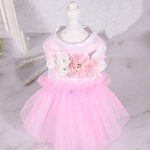 YUTRD ZCJUX Netter Hund Cupcake Kleid Prinzessin Kleid Tutu Blumen Perlen Bequeme Hundekleid Rock Rosa Spitze Designs Welpen Hund Zubehör (Color : Pink, Size : Large)