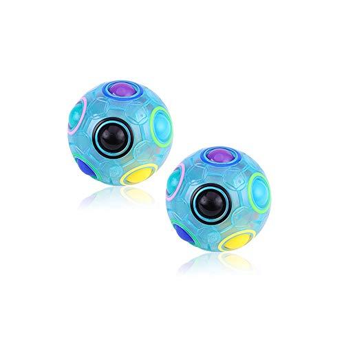 2pcs Bola Mágica del Arco Iris,Bola del Rompecabezas del Arco Iris,Rompecabezas Juguetes Educativos para Niños Alivio de Presión para Adultos Adolescentes (Azul)