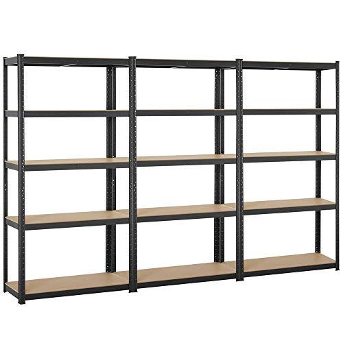 Yaheetech Black 5-Shelf Steel Shelving Unit Storage Rack Adjustable Garage Shelves Utility Rack Display for Home Office Garage 71in Height, 3 Packs