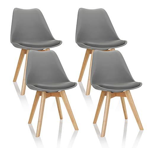 hjh OFFICE 4er Set Esszimmerstühle Scandi Kunststoff Grau Massivholz Beine Buche, Stuhl gepolstert Retro-Design 661010
