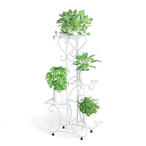 Wisfor Blumentreppe mit 4 Ablagen aus Metall Pflanzentreppe Pflanzenregal Blumenbank 81×57×26cm, weiß