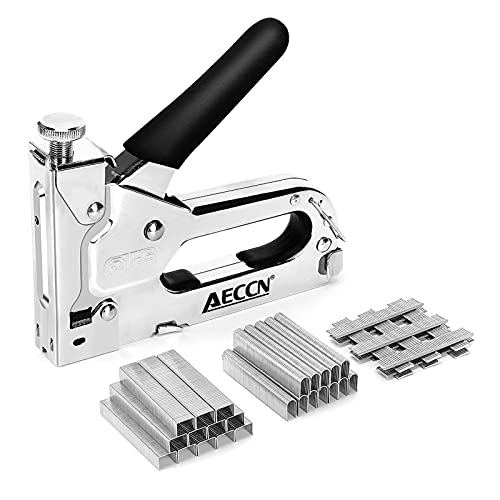 AECCN Staple Gun - 3 in 1 Heavy Duty Staple Nail Steel Gun Kit with 3000 Staples, Upholstery Stapler for Fixing Material, Decoration, Carpentry, Furniture, Doors and Windows