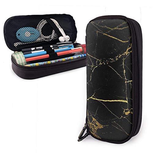 Étui à crayons en papier peint noir or sac à crayons de grande capacité avec fermeture à glissière durable étudiants sac de stylo de papeterie pour stylos et autres fournitures scolaires