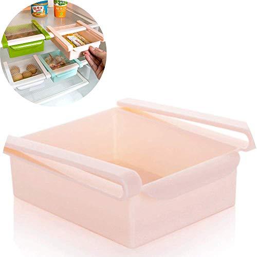 WZYGYDEF Slide Kitchen Kühlschrank Gefrierschrank Space Saver Organizer Lagerregal Regalhalter,Pink