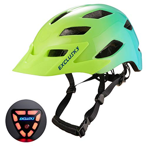 Exclusky Adult Bike Helmet with USB Rear Light, CPSC Certified Bicycle Cycling Helmet with Sun Visor, Adjustable Lightweight Helmet for Urban Commuter Women Men, 22-24 Inches, Flourescent
