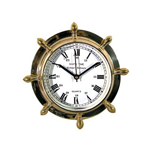 CAPRILO Reloj de Pared Decorativo de Madera y Latón Timón Barcos.Adornos. Decoración Marina. Menaje. Regalos Originales. 23 x 23 x 5 cm.