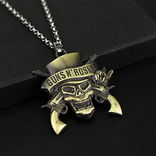 Chenfeng Collar de Hombre Pulsera de música para Mujeres Hombres Logotipo de la Muerte Colgantes joyería Collar Retro joyería de Moda Regalo para Esposo Padre Novio Regalo de cumpleaños