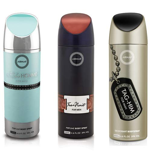 Pack of 3 Assorted Armaf Tag Him + Blue Homme + tres Nuit 6.8 oz Perfume Body Spray For Men