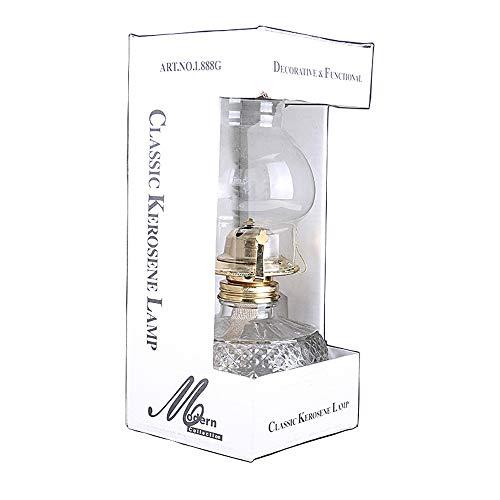 KMYX Lampe Au Kérosène Rétro Nostalgique En Verre Old-fashioned Old Oil Lamp Avec Longue Lanterne Lumière Pour Camping Panne De Puissance D'urgence