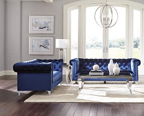 Coaster Home Furnishings Bleker 2 Piece Tuxedo Arm Blue Living Room Set product image