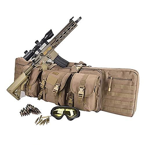 Bolsa Táctica Escopeta, Bolsa Larga Escopeta, Bolsa Táctica Acolchada para Escopeta Doble, Bolsa Táctica Acolchada para Rifle Doble, Estuche de Transporte Impermeable Rifle 118CM,Armygreen