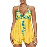Btruely Bikini Damen Set Geteilter Badeanzug Rüschen Zweiteilige Bademode mit High Tailleed Retro...