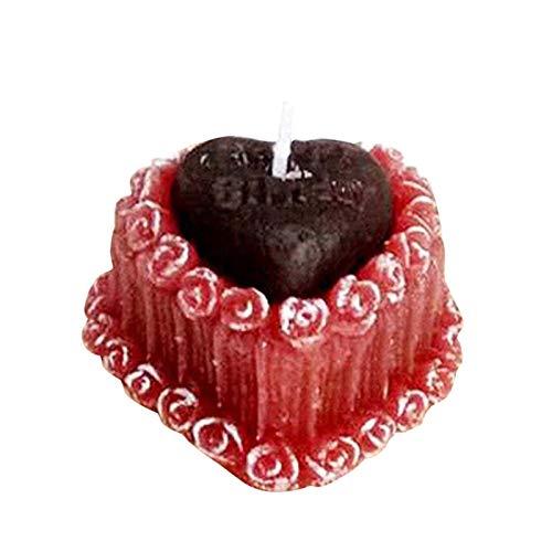 Suppemie Vela aromática en forma de corazón, para cumpleaños, día de San Valentín, para bodas, cenas y fiestas