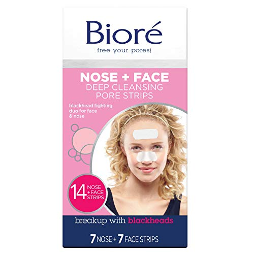 Biore Deep Cleansing Blackhead Remover Nose Strips and Face Pore Strips Combo, Pack of 14