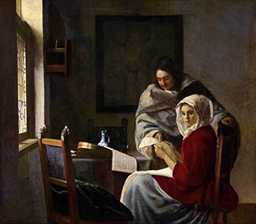 Garota Interrompida em sua Música (1658) de Johannes Vermeer - 30x34 - Tela Canvas Para Quadro