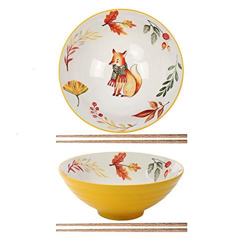 Sayopin 2X Ramen Schüsseln, Großer Japanischer Schüssel mit Stäbchen 900ml, Vintage Ramen Bowl Salatschüssel, Persönlichkeit Suppenschüssel für Müsli, Udon Nudel, Vorspeise(Fuch)