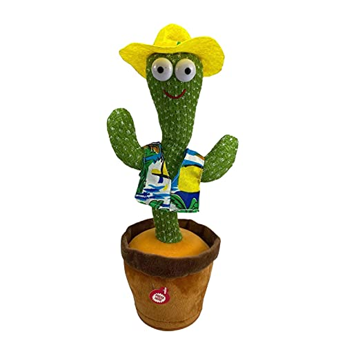 A/C Dancing & Singing Plush Cactus Toy, con Función Luz Y Grabación Y 120 Canciones Inglés, Figuras Acción Peluche para La Decoración Hogar para Niños Jugando