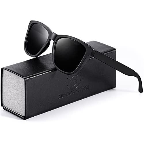 Sunmeet Gafas de Sol Polarizadas Hombre Mujere para Conducir Deportes100% Protección UV401 Gafas para Conducción(Negro/Mate)
