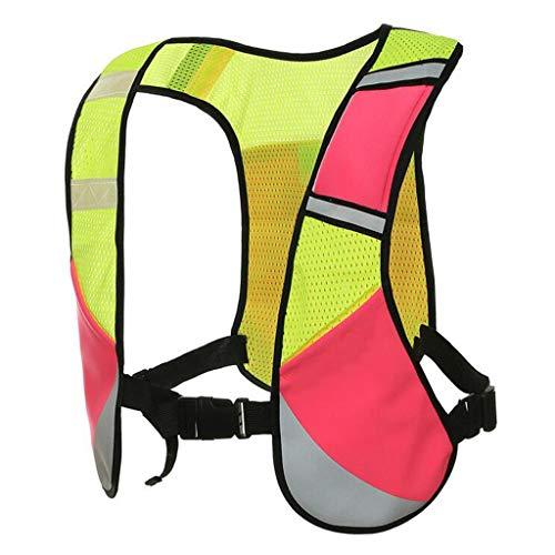 Vélo réfléchissant de sécurité gilet de sécurité taille ceinture rayures veste haute visibilité for la course, la marche, le jogging, le cyclisme, gilet de sécurité motos en maille respirante avec poc