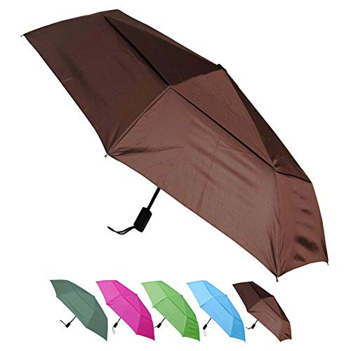 COLLAR AND CUFFS LONDON - Windproof - Compact Yet Strong - Reinforced Frame with Fiberglass - StormProtector Small Folding Umbrella - Vented Double Canopy Regulates Gusts - Auto Open & Close - Brown