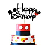 Mickey Happy Birthday Cake Topper Black Glitter Mickey Mouse First Birthday Two Three Four Five Six Years Old Birthday Mickey Themed Boys Kids Birthday Party Cake Supplies Decoration