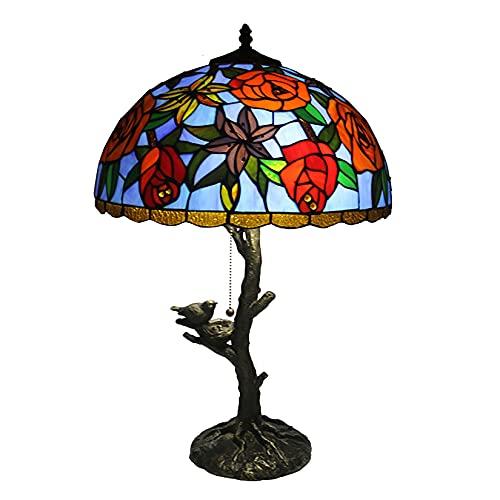HYWFX 2 Luz de Tiffany Style Pastoral Lámpara de Mesa de vidrieras Jardín Rose de 16 Pulgadas Pantalla de Resina Base de Resina Lámpara de Noche para el Dormitorio Regalos Artesanales