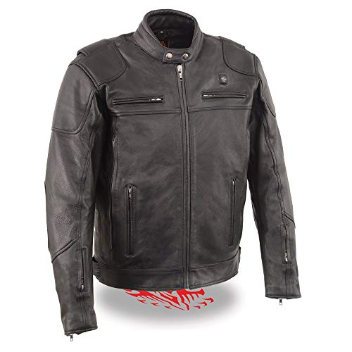 Milwaukee Leather MLM1513SET Men's Black 'Heated' Leather Vented Scooter Jacket (Battery Pack Included) - X-Large
