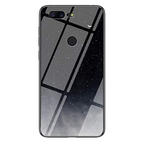 Capa XYX compatível com OnePlus 5T, [parte traseira de vidro temperado] estampa de céu estrelado leve capa fina para OnePlus 5T (Star Crescent Moon)
