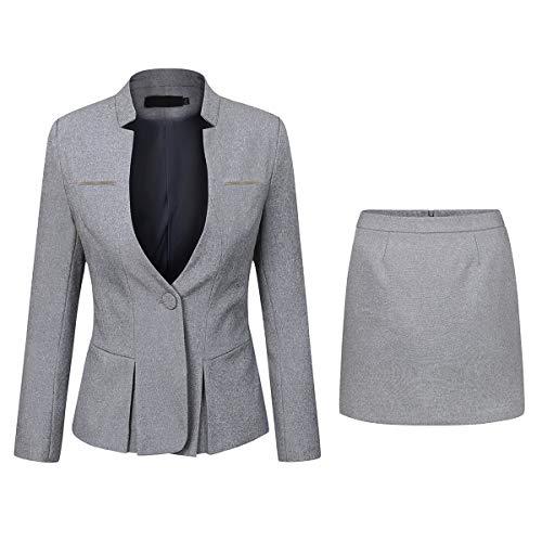YYNUDA Anzug Set Damen Blazer mit Rock/Hose Slim Fit Hosenanzug Elegant Business Outfit für Office Grau L