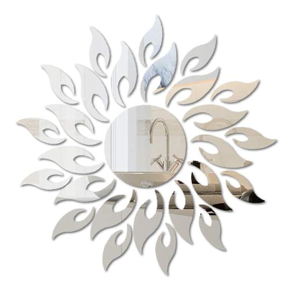 磨かれたゆり舌な壁鏡 壁貼りシール インテリア鏡貼 壁 装飾ミラー リビングルーム ベッドルーム 玄関 浴室 化粧用 装飾用 DIY 太陽花 安全 割れない 折れない 鏡効果 おしゃれ 壁飾り 壁掛け 3D 立体 1.2mm (1.2mm, 太陽花)