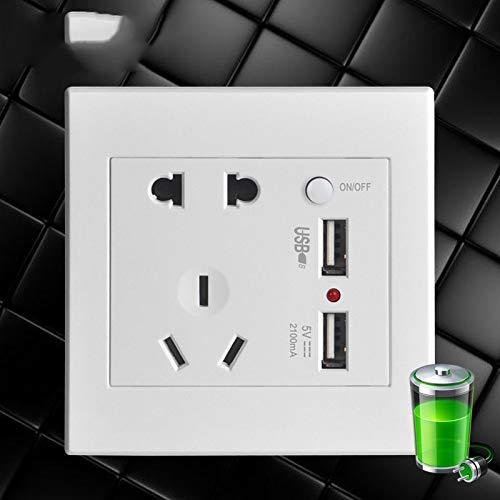 YUY Enchufe Interruptor Pared Enchufe Carga Enchufe Cinco Orificios USB Dual con Control De Interruptor Versión Mejorada Súper Compatible,White