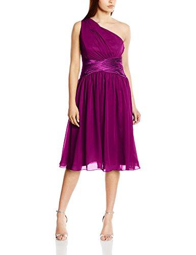Astrapahl Damen Cocktail Kleid One Shoulder, Knielang, Einfarbig, Gr. 34, Violett