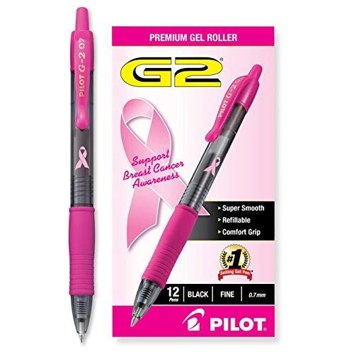 PILOT G2 Premium Pink Ribbon Retractable Gel Roller Ball Pen, Fine Point, Black Ink, 12-Pack (31332)