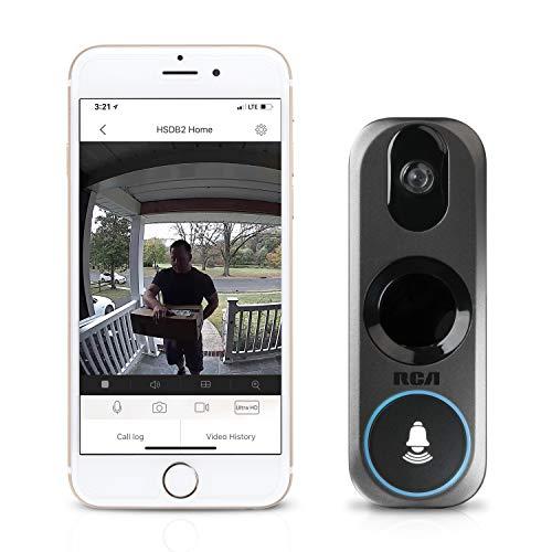 Cámara de seguridad con anillo de vídeo RCA nueva y mejorada con timbre móvil, vídeo HD de 3 MP, transmisión en vivo, sin cargos de almacenamiento de grabación, visión nocturna y detección de movimiento.