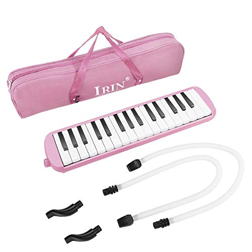 Flexzion Melodica 32 Key (Pink) Pianica Blow Piano Keyboard Harmonica Wind Instrument/w Portable Carrying Bag, 2 Long Tube Mouthpiece, 2 Trumpet Mouthpiece Kit for Beginners Kids Fun Music Gift