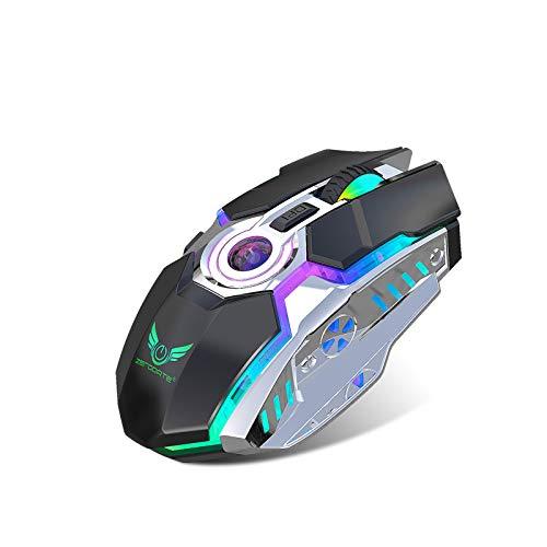 GY Combaterwing W100 Recargable 2.4 G Inalámbrico De Juego con Cable Ratón Óptico Ratones con 4 Niveles De dpi Ajustables, 8 Botones, 3 Colores De Luces De Respiración para PC Y Mac