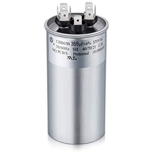 35 5 MFD 370 V Dual Run Round Capacitor for Condenser Straight Cool or Heat Pump Air Conditioner
