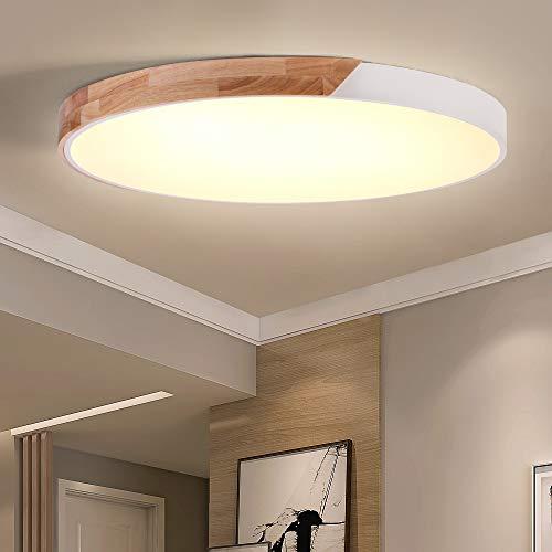 ERWEY LED Deckenleuchte Holz Ø60cm Deckenlampe Rund Bürodeckenlampe Warmweiß Modern 3000K 5100LM Wohnzimmerlampe für Schlafzimmer, Büro, Küche, Wohnzimmer