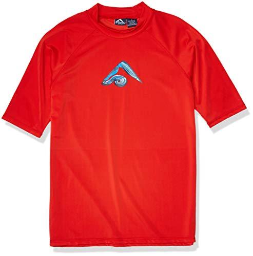 Kanu Surf Men's Mercury UPF 50+ Short Sleeve Sun Protective Rashguard Swim Shirt, Abacos Red, Medium