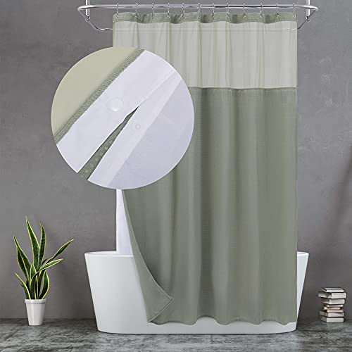 Waffle Weave Shower Curtain with Snap-in Fabric Liner Set, 12 Hooks Included - Hotel Style, Waterproof & Washable, Heavyweight Fabric & Mesh Top Window - 71x72, Sage Green is $22.99 (41% off)